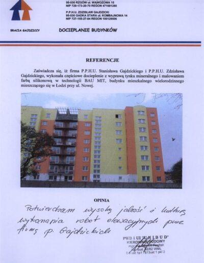 Referencja docieplanie budynków Łódź