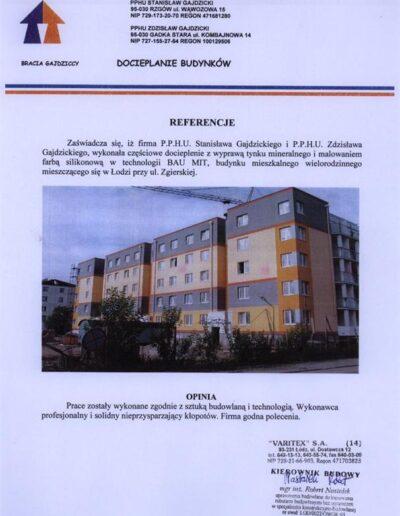 Referencja na docieplanie budynków w Łodzi